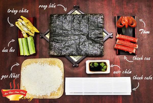 Chuẩn bị nguyên liệu làm sushi