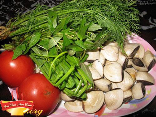 Nguyên liệu nấu canh ngao rau răm
