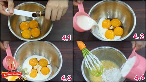 Bước 4 làm bánh bông lan bằng nồi cơm điện