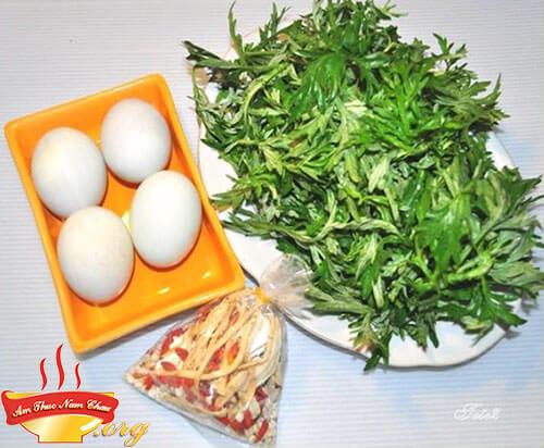 Chuẩn bị nguyên liệu làm trứng rán ngải cứu