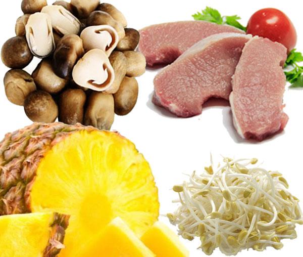Nguyên liệu cho món canh nấm nấu chua