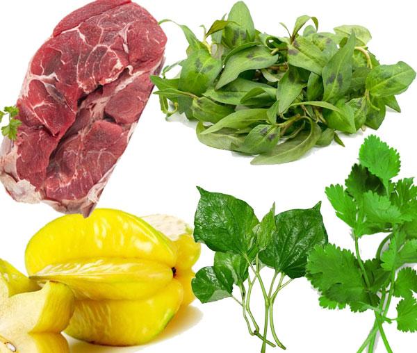 Nguyên liệu của món canh bắp bò nấu khế