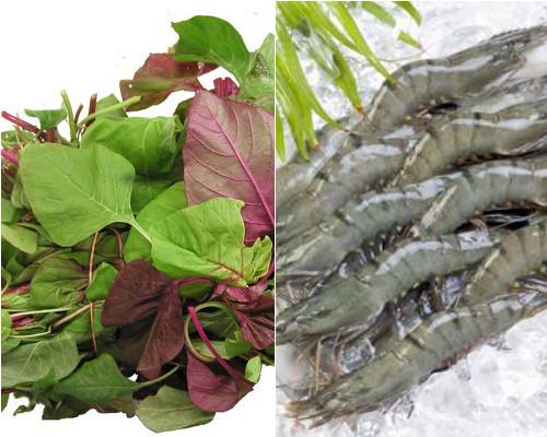Nguyên liệu thực hiện món canh rau dền nấu tôm: